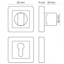 WC užraktas Morelli kvadratinis S55, matinis chromas/chromas
