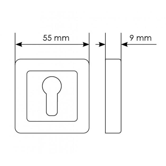 Cilindro dangtelis Morelli kvadratinis S55, matinis chromas/chromas
