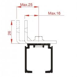 Slankiojančių durų sistemos bėgelio tvirtinimo elementas 127/DV