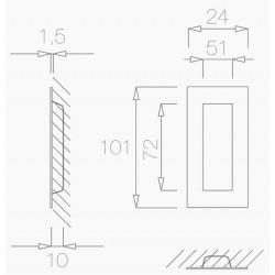 Slankiojančių durų sistemos rankena TUPAI 1696 Q, matinis nerūdijantis plienas