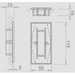 Slankiojančių durų sistemos rankena TUPAI 2650 Q, juoda