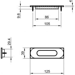 Slankiojančių durų sistemos rankena TUPAI 4052 R, balta