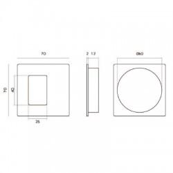 Slankiojančių durų sistemos rankena JENIFER mini, 70x70 metalic