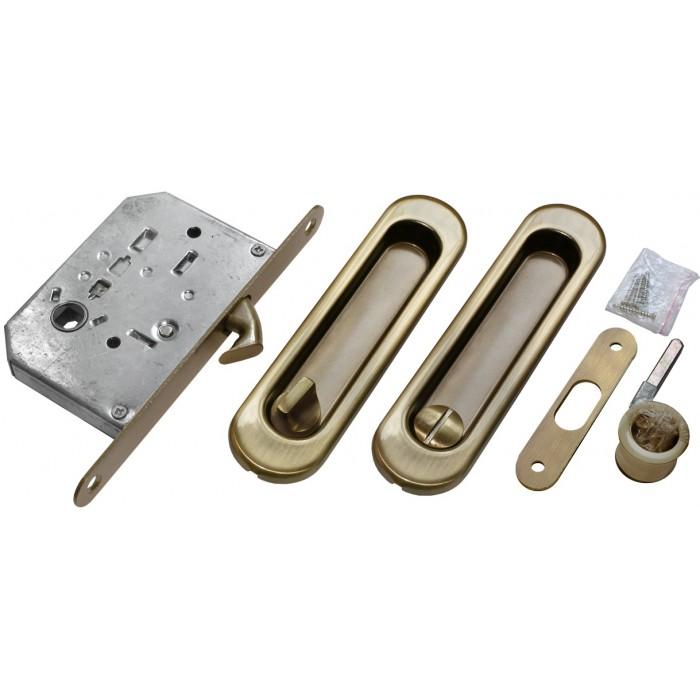 Slankiojančių durų spynos ir rankenų komplektas Morelli (iš vienos pusės), sendintas žalvaris
